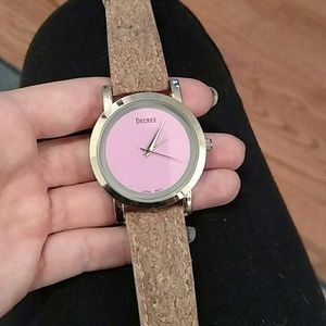 Decree Accessories - Cork band watch with pink face