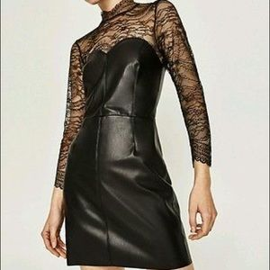 Gorgeously sexy faux leather and lace dress