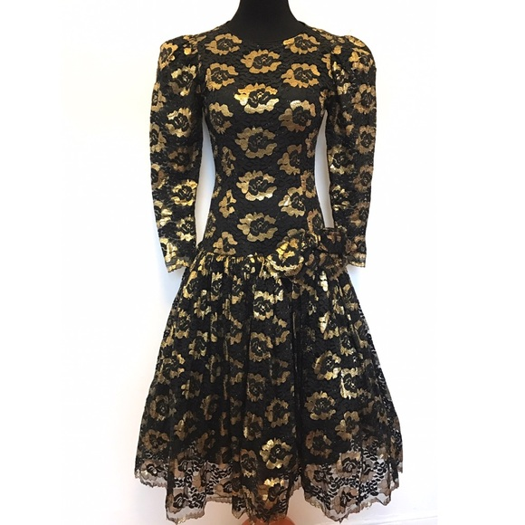 Vintage Dresses & Skirts - Gorgeous vintage 80's dress gold lace