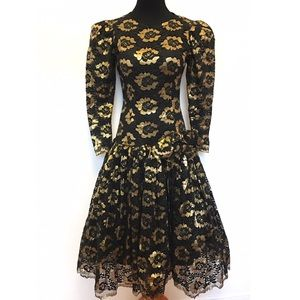 Vintage Dresses - Gorgeous vintage 80's dress gold lace