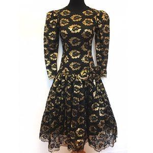 Vintage Dresses & Skirts - Gorgeous vintage 80's dress gold lace