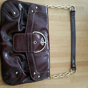 Burgandy patent leather  (faux) shoulder bag