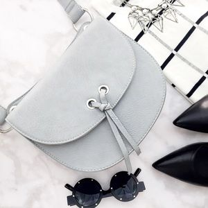 Gray Faux Leather Crossbody Bag