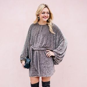 ASOS RED CARPET Oversized Sequin Caftan Mini Dress