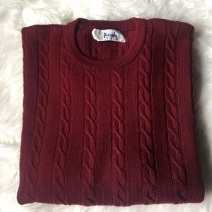 Pringle Other - Pringle of Scotland Burgundy cable knit sweater M