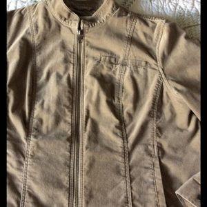 Coldwater Creek Jackets & Blazers - Deep Khaki Sueded Cotton Jacket