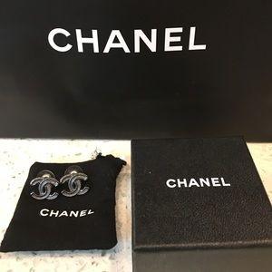 CHANEL Jewelry - Chanel Gunmetal Logo Studs *authentic*
