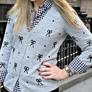 J.Crew Grey Cardigan with Black Sequin Bows