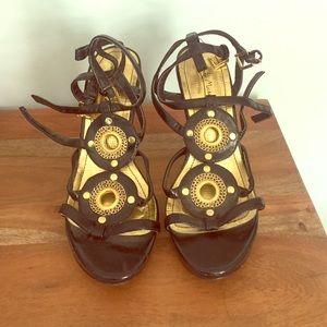 Dressy black and gold heels