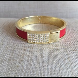 henri bendel Jewelry - Henri Bendel red and gold bangle w/ pave crystals