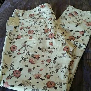 Andrea Jovine Pants - NWT, Andrea Jovine Printed Floral Ankle Pants
