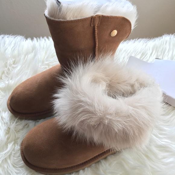 904f8394c4e BNIB UGG Australia Valentina Fur Trim Boots NWT