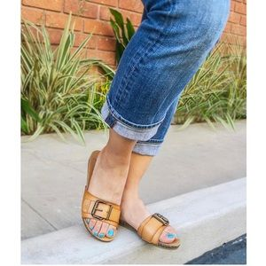 Blowfish Shoes - Tan Buckle Slide Sandals
