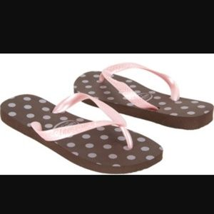 Havaianas Shoes - Brown and Pink Polka Dot Havaianas size 6