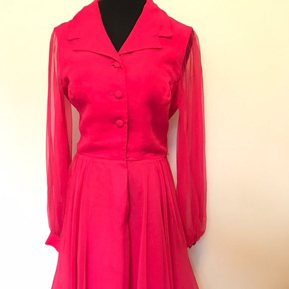 Vintage Dresses - Beautiful Hot Pink Vintage 60's Dress