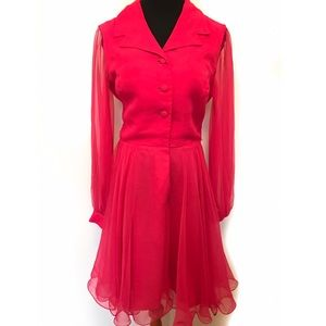 Vintage Dresses & Skirts - Beautiful Hot Pink Vintage 60's Dress