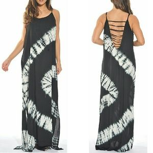 Dresses & Skirts - Gray boho chic tie dye low back long maxi dress