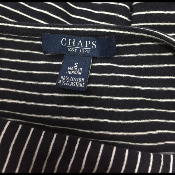84 Off Chaps Tops Navy White Striped Boatneck Tee S