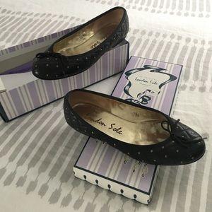 London Sole Shoes - London Sole black studded flats