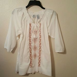 Caribbean Joe Tops - Caribbean Joe Peasant Blouse Size XL