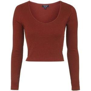 Topshop Tops - Topshop V Neck Ribbed Maroon Crop Top Long Sleeve