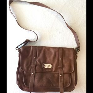 Brown Faux Leather Messenger Bag