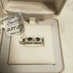 Emotions  Jewelry - Sterling Green White Swarovski Zirconia Ring