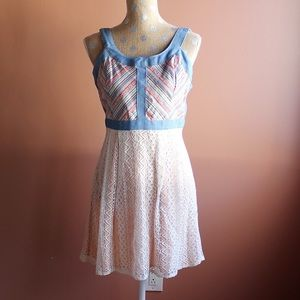Modcloth woven top with cream skirt mini dress