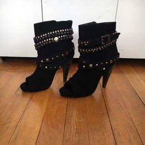 Steve Madden Open Toe, Black Suede Boots, size 6