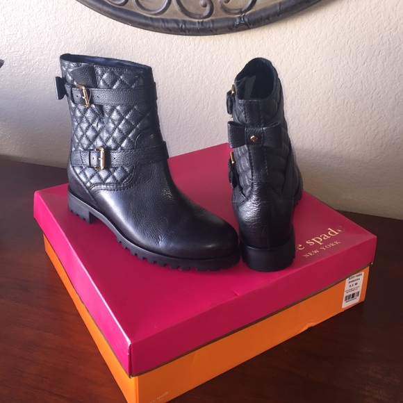 f9ebb84527d0 kate spade Shoes   Nib Samara Black Moto Boots 95   Poshmark