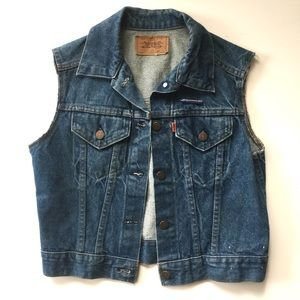 Vintage Levi's Orange Tab Cutoff Denim Vest // M