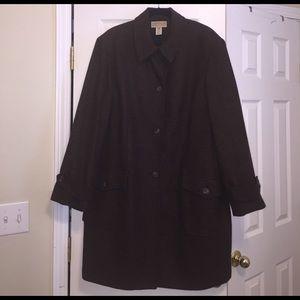 Jones New York Jackets & Blazers - Jones New York Brown Herringbone Tweed Coat 22W