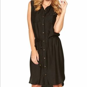 Dresses & Skirts - Cute Black Tie Waist Sleeveless Shirt Dress
