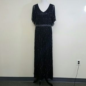 J Kara Dresses & Skirts - J Kara Beaded Illusion Yoke Gown - Black/Gunmetal