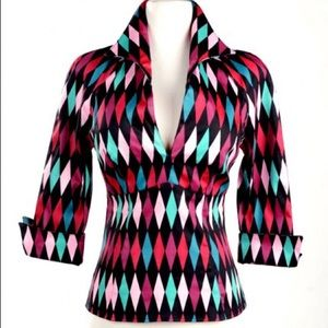 Pinup Girl Clothing Tops - Pinup Girl Clothing Lauren black harlequin L EUC