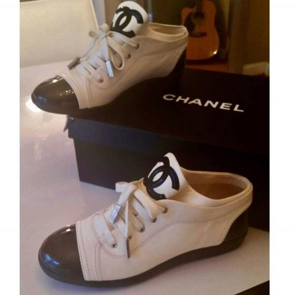 Chanel Black   White Tennis Shoes 3b6dce549