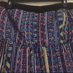 Tribal print strapless maxi dress