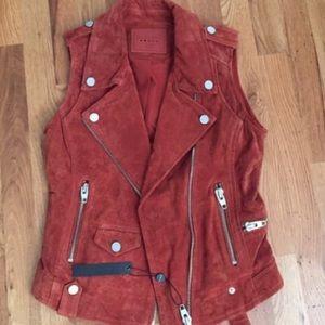 Blank NYC Jackets & Blazers - NYC BLANK Suede Vest in size medium in Orange/rust
