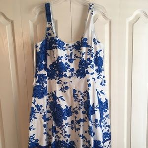 NWT Blue Floral and White Dress