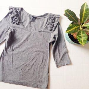 H&M Ruffle Shoulder 3/4 Sleeve Top
