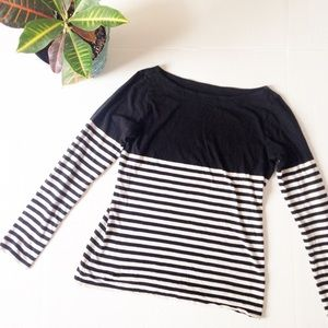 LOFT Striped Cotton Long Sleeve Tee