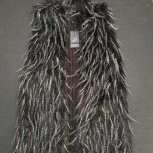 Adrianna Papell Long Faux Fur Vest