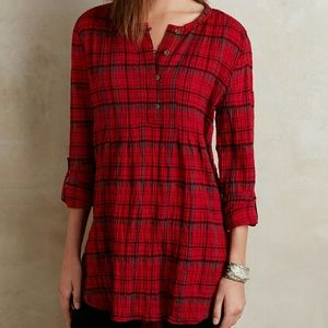 New Halfpenny Plaid Tunic Holding Horses Red XS