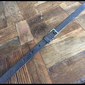 J Crew metallic pewter gunmetal skinny  belt