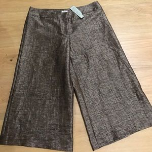 Cache flare cropped pants shimmer bronze size 6