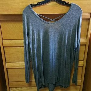 Garage Tops - Garage Gray Cross-Back Long Sleeve Shirt