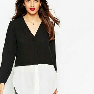 ASOS Tops - ASOS Black & White V-Neck Color Block Blouse