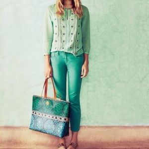 Pants - Tory Burch Green Alexa Cropped Skinny Jeans Pants