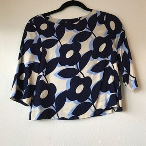 NWT H&M cropped floral 70s blue blouse