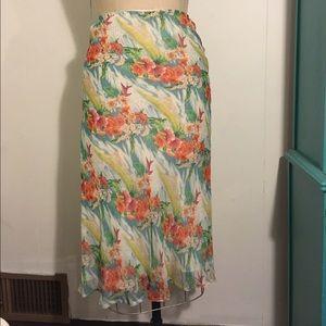 Tocca Dresses & Skirts - Tocca 8 bias cut silk tropical print skirt